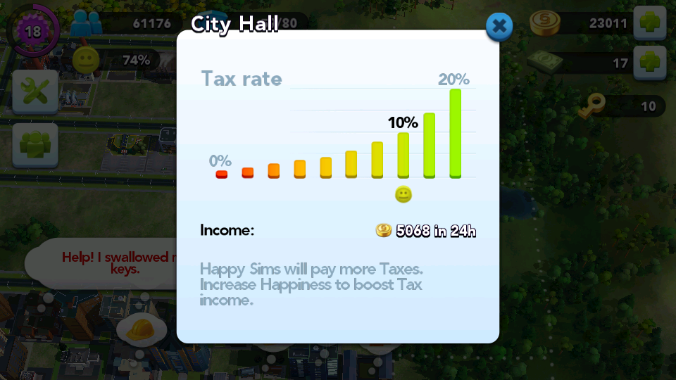 Taxes in Sim City BuildIt